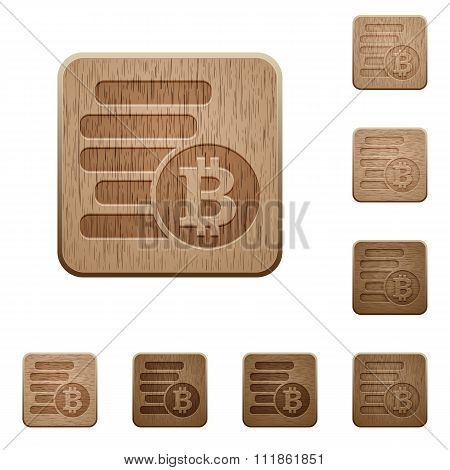 Bitcoins Wooden Buttons
