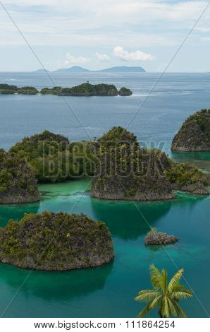 Many small green Islands belonging to Fam Island in the sea of Raja Ampat, Papua New Guinea