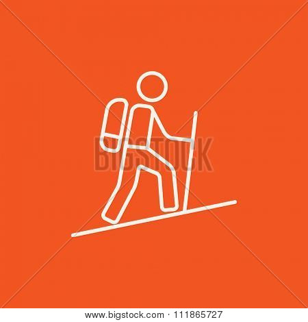 Tourist backpacker line icon for web, mobile and infographics. Vector white icon isolated on red background.