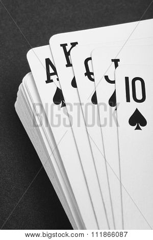 Poker Card Game With Spade Straight Flush. Black And White