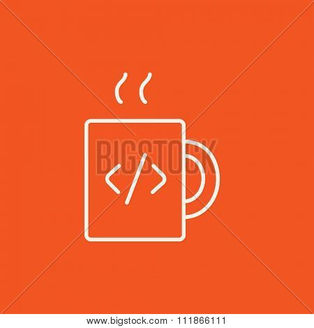 Cup of coffee with a code sign line icon for web, mobile and infographics. Vector white icon isolated on red background.