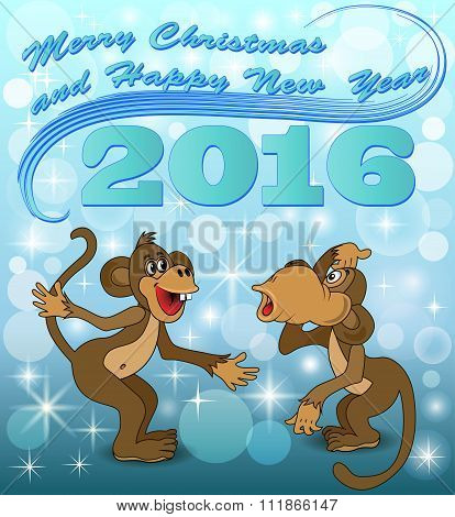 Illustration Holiday Card With Two Monkeys Who Speak