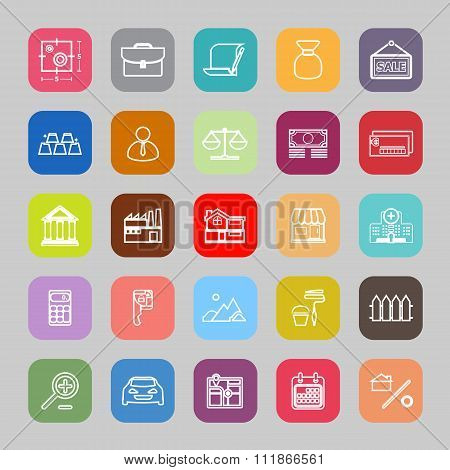 Mortgage And Home Loan Line Flat Icons