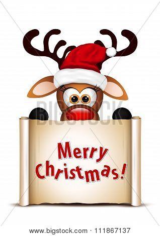 Funny Christmas Reindeer.