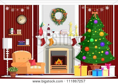 Colorful vector Christmas room interior design with fireplace, Christmas tree, gifts, decoration and