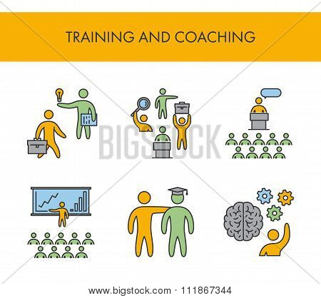 Line Icons For Training And Coaching. Vector Linear Set
