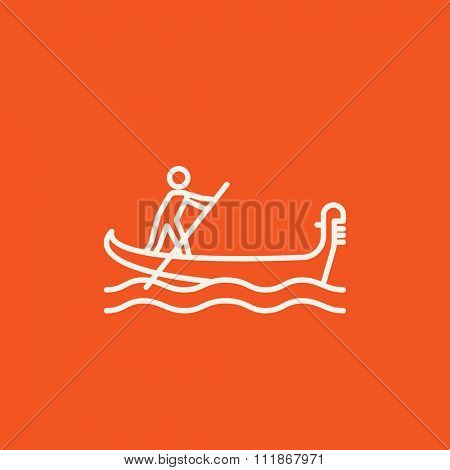 Sailor rowing a boat line icon for web, mobile and infographics. Vector white icon isolated on red background.