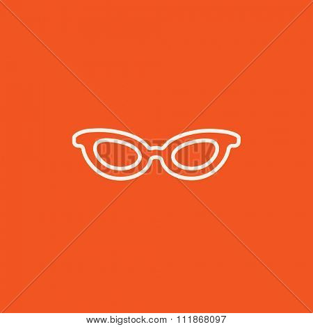 Eyeglasses line icon for web, mobile and infographics. Vector white icon isolated on red background.