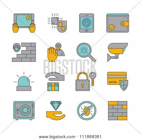 Line Set Of Icons Security. Vector Linear Symbols