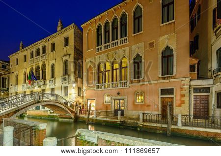 Beautiful views at night in Venice, Italy.