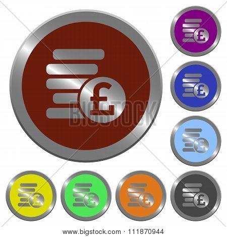 Color Pound Coins Buttons