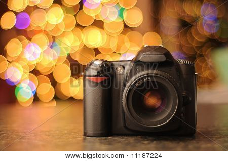 Dslr Camera With Bokeh Background