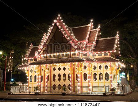 Hua Hin ,thailand - Dec11,2015 : King Pavilion Decorative Night Lights At Huahin Railway Station,tha
