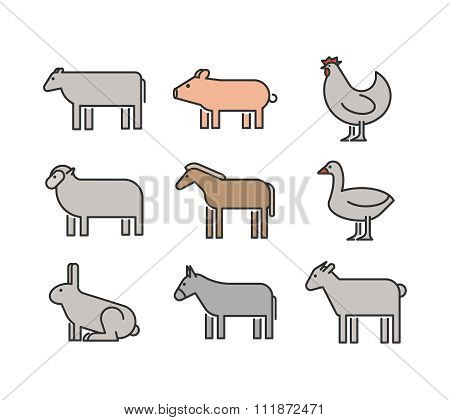 Outline Figures Of Farm Animals. Vector Figures Icon Set