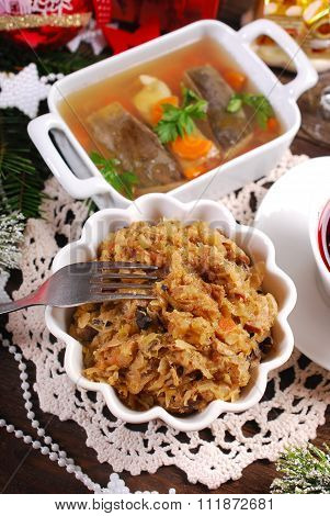 Sauerkraut With Mushrooms And Carp In Jelly For Christmas Eve Supper