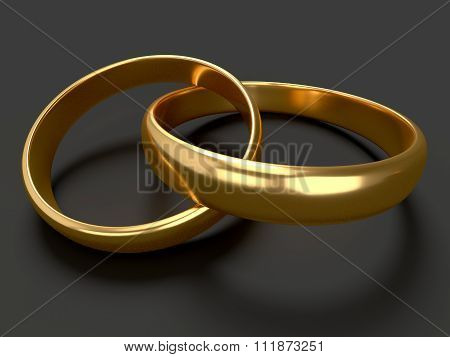 Heart With Gold Wedding Rings