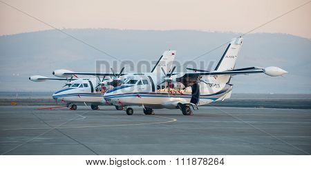 Ulan-ude, Russia - April 22, 2014: New White Let 410 Airplane Parked At The Airport Baikal