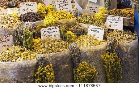 Herbs On The Grand Bazar In Istanbul