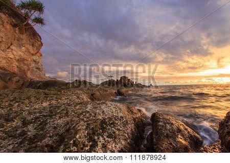 Sunset At Bonzai Rock Layangan Beach, Labuan FT.