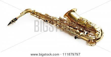 Golden saxophone isolated on white background
