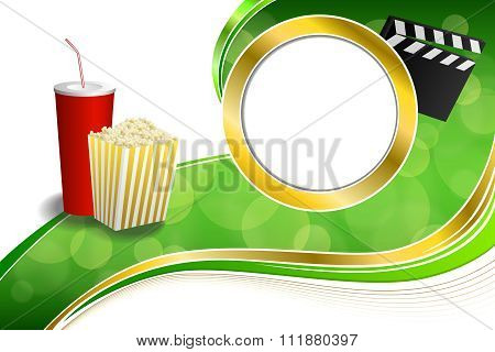 Background abstract green red drink popcorn movie clapper board gold circle frame illustration