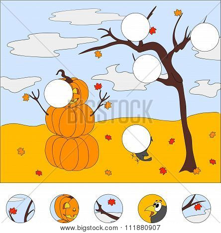 Snowman Of Pumpkins, Autumn Tree And Surprised Raven. Vector Illustration. Game For Kids
