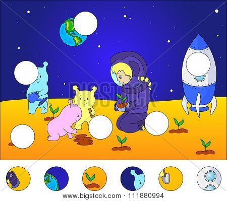 Aliens And Astronaut Watering The Plants On The Planet. Rocket Is Standing On The Surface Of Mars Or
