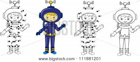 Cartoon Astronaut. Vector Illustration. Coloring And Dot To Dot Game For Kids