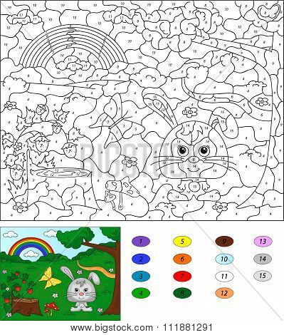 Color By Number Educational Game For Kids. Forest Glade With A Hare, Stub, Strawberries, Butterfly,