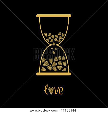 Love Hourglass With Hearts Inside. Gold Sparkles Glitter Texture Black Background
