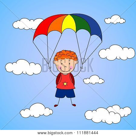 Boy Parachutist Descends From The Sky On A Parachute Through The Clouds