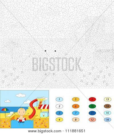 Color By Number Educational Game For Kids. Boy With A Rubber Ring In The Water Park Swimming Pool