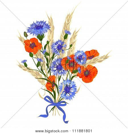 Beautiful Bouquet Of Cornflowers, Poppies And Wheat Spikelets, Tied With Silk Ribbon