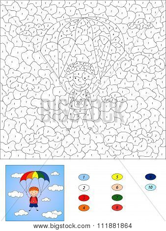 Color By Number Educational Game For Kids. Boy Parachutist Descends From The Sky On A Parachute Thro