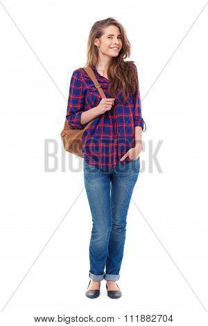 Beautiful Happy Student Posing On White Background.