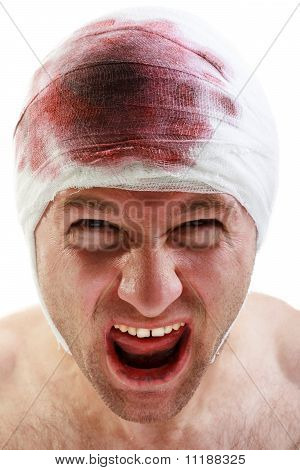 Bandage On Blood Wound Head