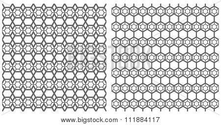 Hexagons patterns set. Seamless latticed textures. Vector art.