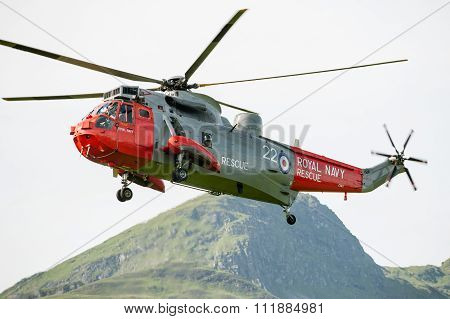 Royal Navy helicopter taking off