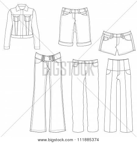 Flat template sketches of different denim and jeans clothes - Set of denim clothes