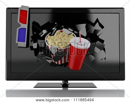 3D Popcorn, Drink And Tv. Cinema Concept