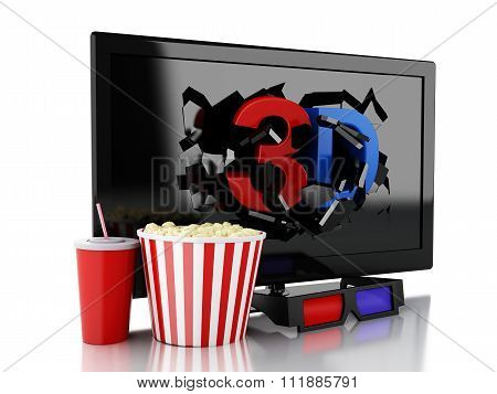 3D Tv Led, Popcorn And Drink