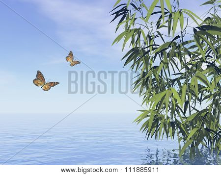 Butterflies and bamboos - 3D render