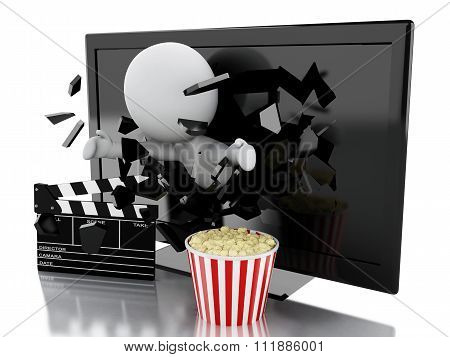 White People With 3D Television, Popcorn And Clapper Board