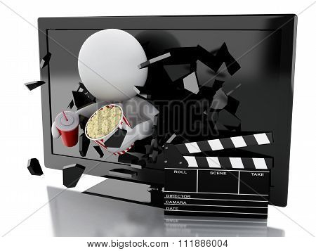 White People With 3D Television, Clapper Board, Popcorn And Drink.