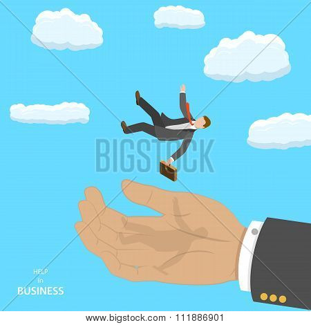 Help in business isometric flat vector concept.