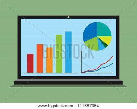 Laptop, Graphs, Diagrams, Statistics