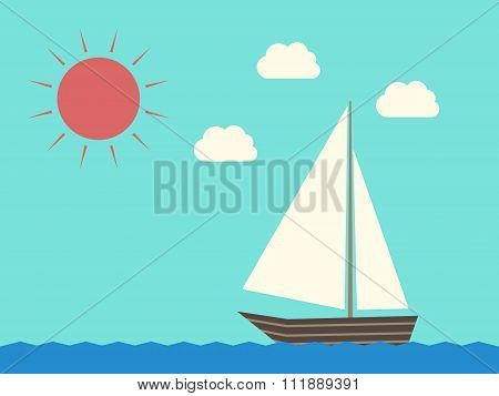 Sailing Boat, Water, Sun