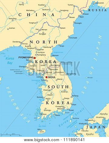Korean Peninsula Political Map
