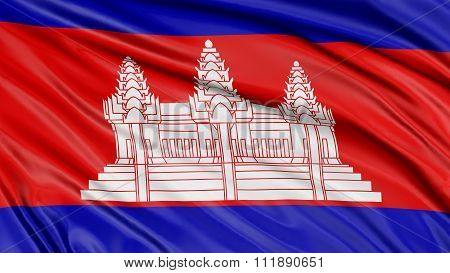 3D Cambodian flag with fabric surface texture