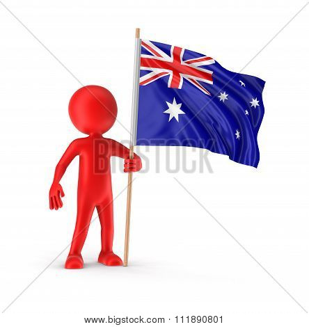 Man and Australian flag. Image with clipping path